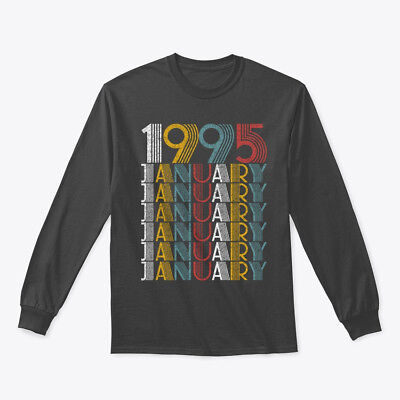 January 1995 Birthday Vintage Style Gildan Long Sleeve Tee T-Shirt