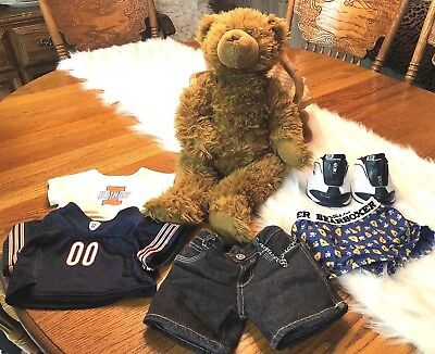 Build a Bear Cocoa Fuzzy Jointed Teddy Bear Plush And More! Chicago Bears!