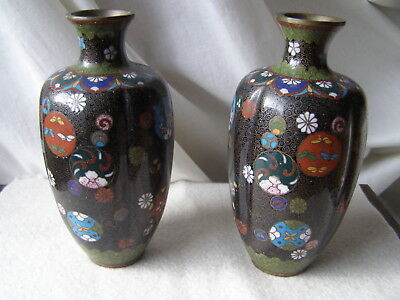 """Pair Of Melon Ribbed  Japanese Cloisonne Bud Vases Meiji Period 6"""" Signed"""