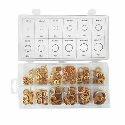 280Pcs 12 Sizes Solid Copper Washers Sump Plug Assorted Sealing Ring Kit+Box AF