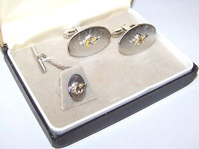 Nice Vintage Set Of Anson Silver Tone Masonic Shriner Cufflinks And Tie Tack