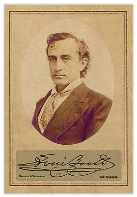 EDWIN BOOTH 1876 Actor Legend Autograph Photograph Cabinet Card Vintage RP