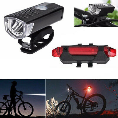 Safety Bicycle Bike Head Front Light Rear Tail LED Rechargeable Lamp Set USB Kit