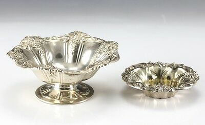 2pc Sterling Silver Bowls - Repousse floral designs along rim, one footed