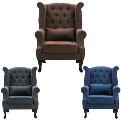 Occasional Chesterfield Queen Anne Style Tub Chair Wing Backed Armchair +Cushion