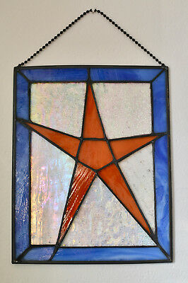 Stunning Vintage Stained Glass Gold STAR Sun Catcher Hanging Panel Holiday