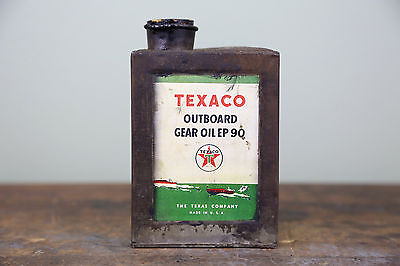 Texaco Outboard Gear Motor Oil Ep 90 Boat Vintage Fantasy Advertising Metal Can
