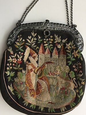Rare Antique Tapestry French Petit Point Purse Castle Maiden Dog