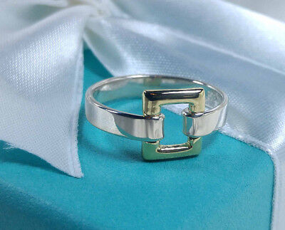 Tiffany & Co. Square Buckle Ring Open Rectangle 18k Gold 6 Sterling Silver 925