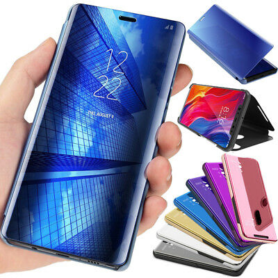 For Xiaomi Mi 8 Smart Clear View  Plating Mirror Flip Leather Stand Case Cover
