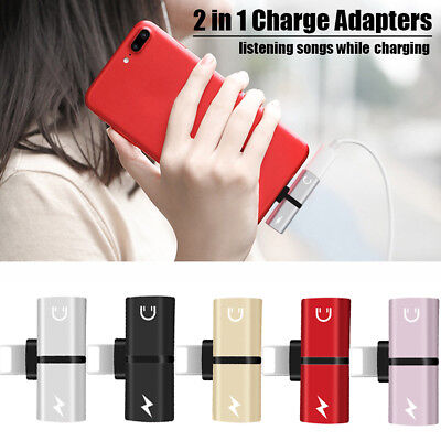 2in1 Lightning Headphone Audio Charger Adapter Splitter For iPhone XS MAX XR