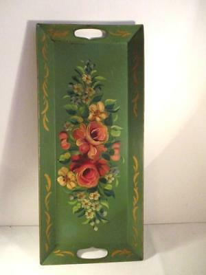 Vtg Goodkind Rectangular Hand Painted Metal Tole Tray-Green-Flowers/Roses-Pinks