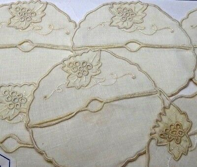 8 Vintage Madeira Grape Embroidery Linen Wine Stem Coasters Original Package&Tag