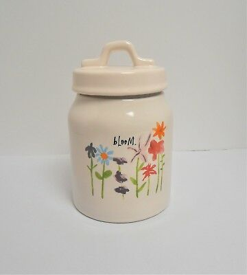 """Rae Dunn by Magenta """"bloom"""" 7"""" h Canister with Flowers"""