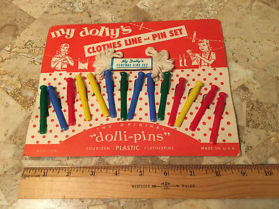 "VINTAGE DOLL CLOTHES LINE SET ""DOLLI PINS"" UNUSED ON ORIGINAL CARD 1940s-1950s"