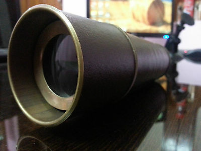"""Nautical Telescope 18""""~W/Brown Leather Sheathed~Working Spyglass Antique Item."""