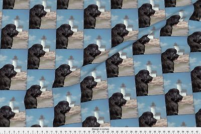 Lighthouse Newfoundland Dog Newfy Black Newfy Fabric Printed by Spoonflower BTY