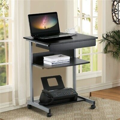 Rolling Computer Desk Workstation Study Writing PC Laptop Table w/Printer Shelf