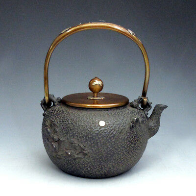 Japanese Kibundo replica silver inlaid cast iron Tetsubin teapot 1250ml