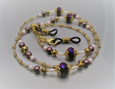 Spectacle Glasses Eyeglass Beaded Luxury Chain Wine & Gold S1879