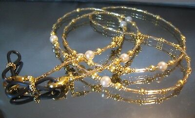 Beaded Spectacle Chain Glasses Sunglasses Handcrafted Eyeglass Gold Pearl S405