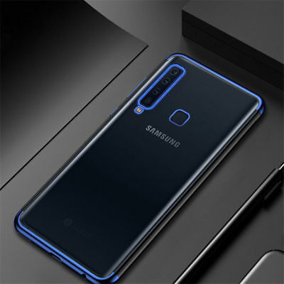 For Samsung Galaxy A9 2018 A7 Slim Silicone Plating Soft Clear TPU Case Cover