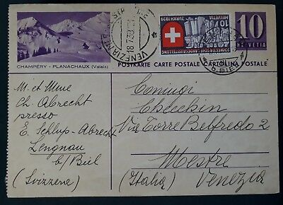 "SCARCE 1939 Switzerland Postcard ""Champery"" ties Soldier's  stamp to Venice"