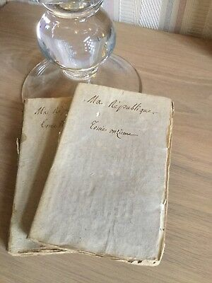 Antique French 19th Century Time Worn Hand Bound Books