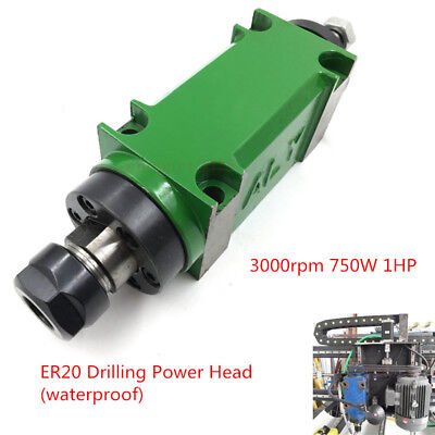1HP 3000rpm Waterproof Mechanical ER20 Drilling Spindle Unit Power Head 5Bearing