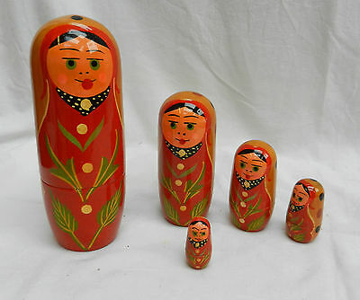 Hand Painted Russian Doll Set - Traditional Ladies - 5 Dolls - BNWT