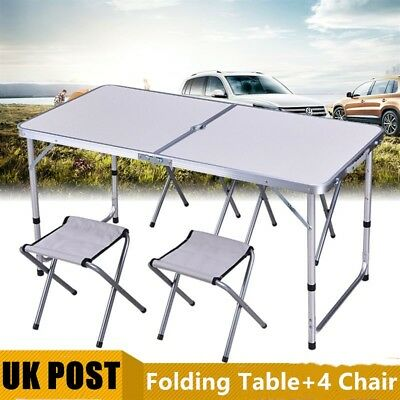 Portable Aluminium Folding Camping Table And Chairs Picnic Set + 4 Bench Chairs
