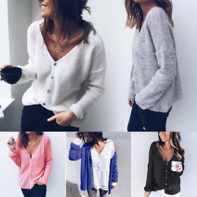 Womens Long Sleeve V Neck Button Loose Sweater Ladies Casual Jumper Tops