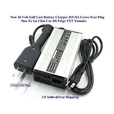 36V 5A Golf Cart Battery Charger Crows Foot for Star Ez Go Club Car DS EZgo 110V
