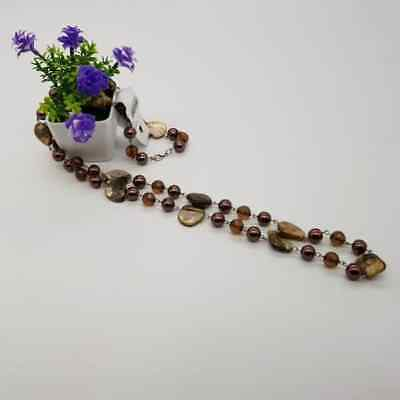 Bronze - Gemstones Necklace Bali Handmade vintage
