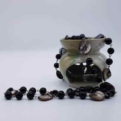 Black - Gemstones Necklace Bali Handmade vintage