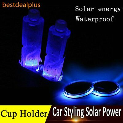 2Pc 72mm Solar Cup Pad Car accessories Blue LED Cover Interior Decoration Lights