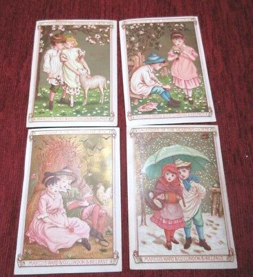 Antique Calendar Of The Seasons Cards 1876 Polychrome Marcus Ward & Co Greenaway