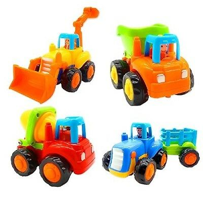 Friction Powered Cars, Push and Go Toy Trucks Construction Vehicles 1-3 Year Old