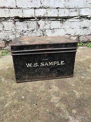 Antique Edwardian W.S Sample Solicitors Metal Deed Box Reclaimed Salvage Vtg