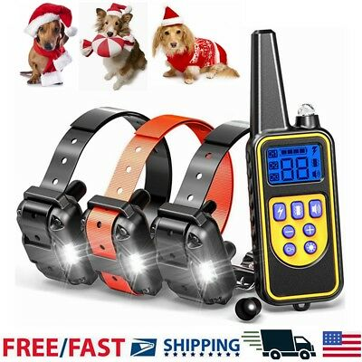 2600 FT Remote Waterproof Rechargeable Pet Training Dog Shock Collar for 3 Dogs