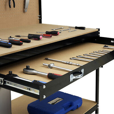 Heavy Duty Metal Work Bench Garage Unit Tool Storage Drawer Shelf  Workshop UK
