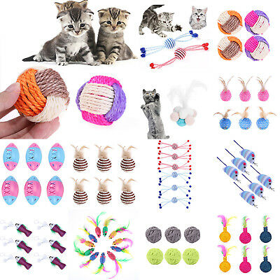 6pcs/12pcs Funny Pet Cat Cute Toys Sisal Rope Wear Resistant Feather Playing Toy