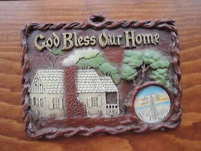 VTG Wall Plaque-Souvenir-God Bless Our Home w inserted Decal - Empire State Bld