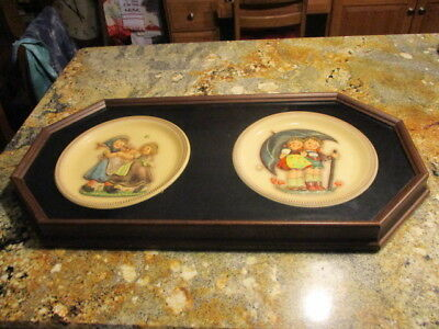 2 M J Hummel First Edition Plates Stormy Weather 1975 & 1980 Spring Dance FRAMED