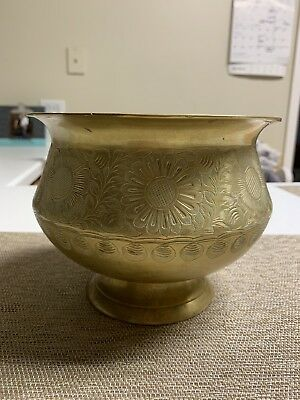 Antique Decorative Beautiful Hand Carved Brass Pot/ Planter Made In India 1858