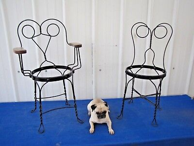 Antique Vintage Wrought Iron Twisted Metal Wire Ice Cream Parlor Stool Steampunk