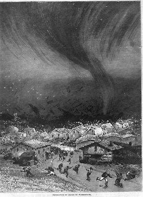 Destruction of Cruces, New Mexico by Waterspouts  -  1875 Antique Print