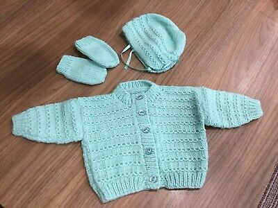 Baby Hand Knitted Mint Green Double Knit Cardigan Bonnet And Mittens 0-6 Months