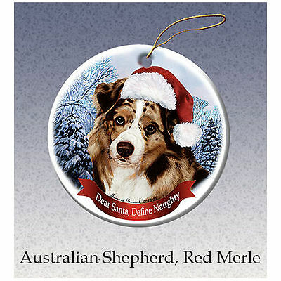 Australian Shepherd Red Merle Howliday Porcelain China Dog Christmas Ornament