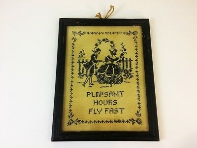 Antique Cross Stitch Pleasant Hours Fly Fast love romance Courting Couple framed